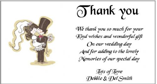 Thank You Gift Cards Wedding Personalised -  Over the Threshold  Design  x 10
